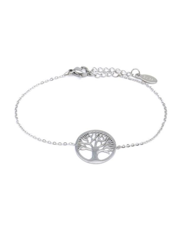 Bracelet acier inoxydable argenté Arbre de vie