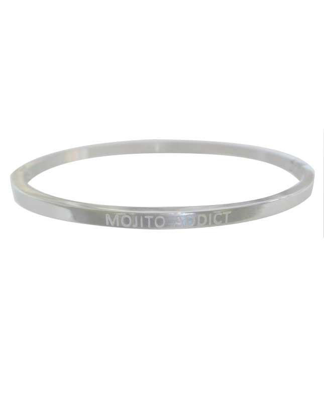 Bracelet message acier inox argenté Mojito Addict