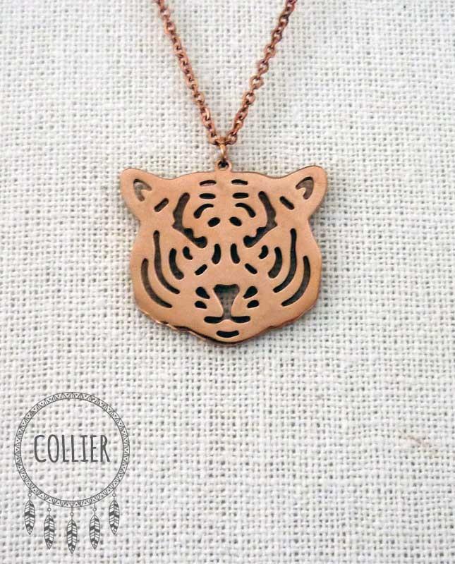 Collier acier inoxydable rosé Tête de tigre