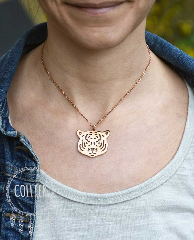 Collier acier rosé Tête de tigre