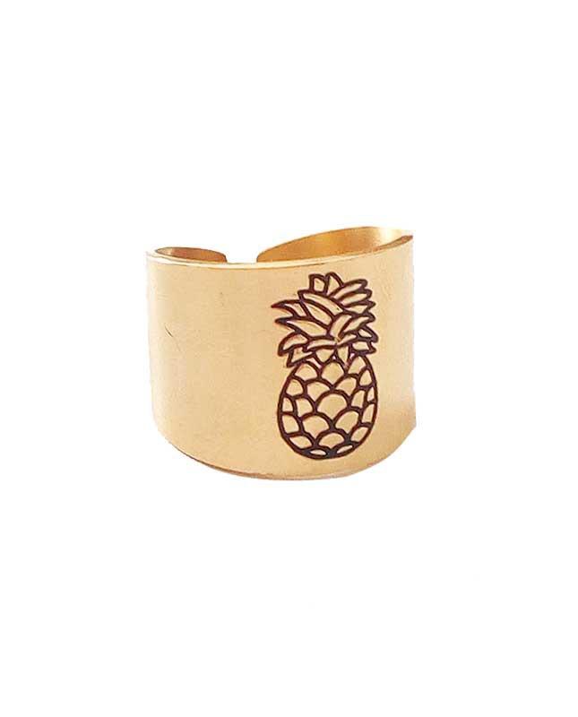 Bague acier inox doré Ananas