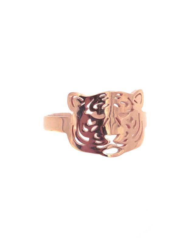 Bague acier inox rosé Tête de tigre