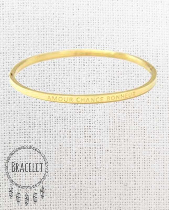 Bracelet acier inoxydable doré Amour Chance Bonheur