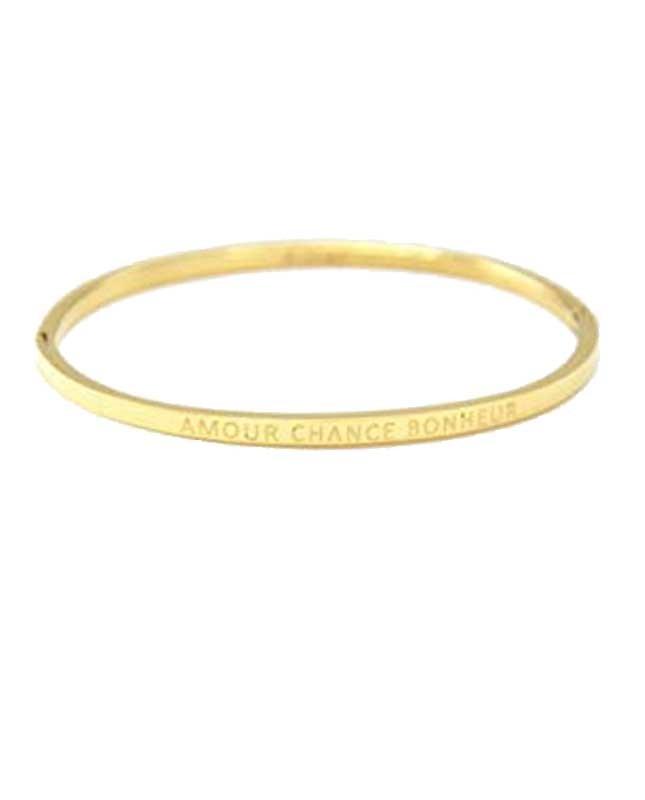 Bracelet acier inox pas cher doré Amour Chance Bonheur