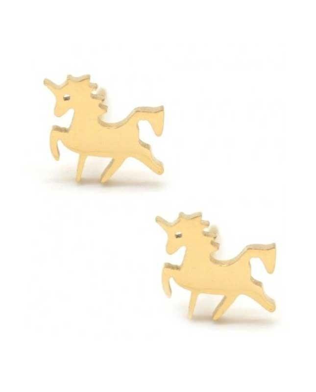 Boucles d'oreilles acier inox doré Licorne