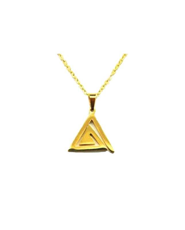 collier acier inoxydable doré triangle