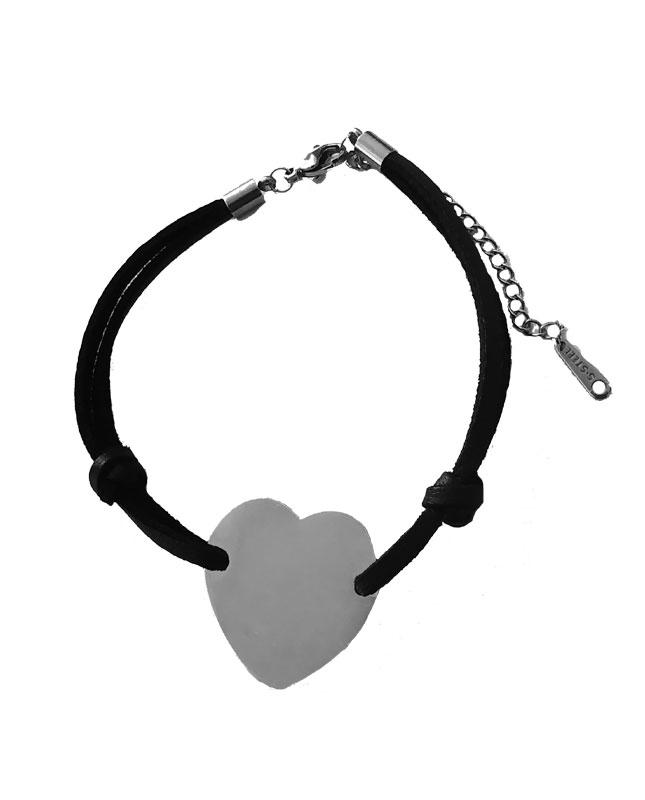 bracelet cordon coeur acier inoxydable