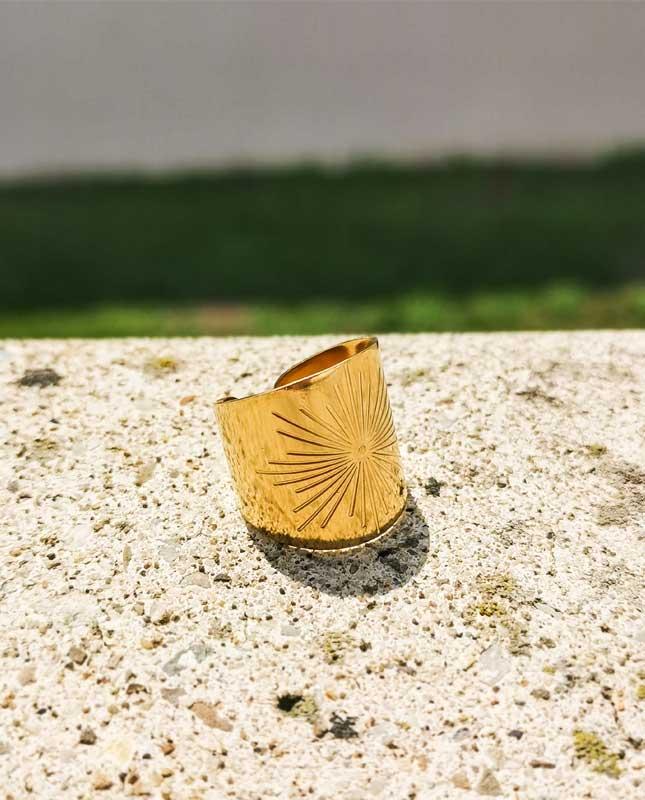 bague acier inoxydable doré