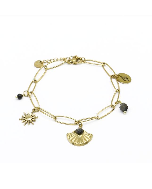 bracelet acier inoxydable doré BRH86
