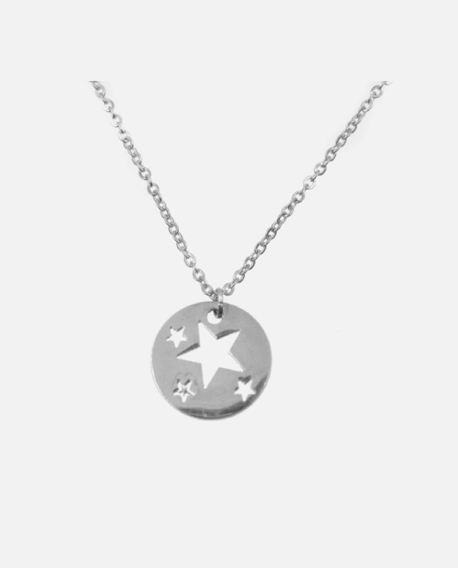 collier acier inoxydable argenté étoile