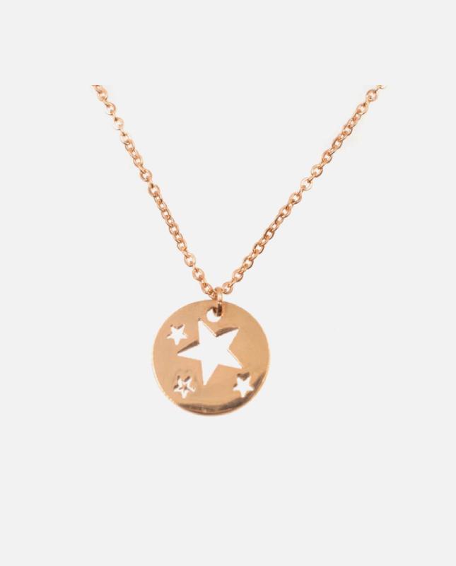 collier acier inoxydable cuivré étoile