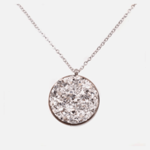 collier acier inoxydable rond strass blanches