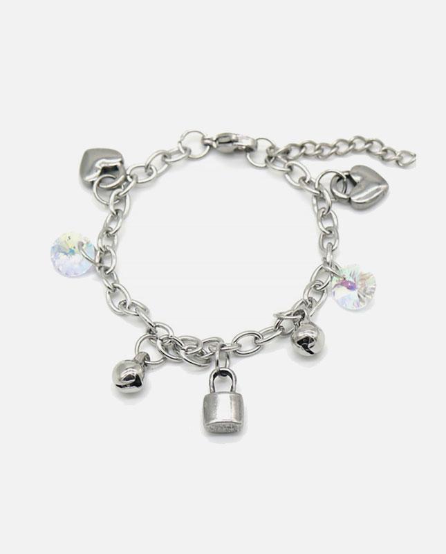 bracelet acier enfant coeur et cadenas