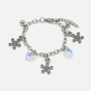 bracelet acier pour enfant coeur et étoile