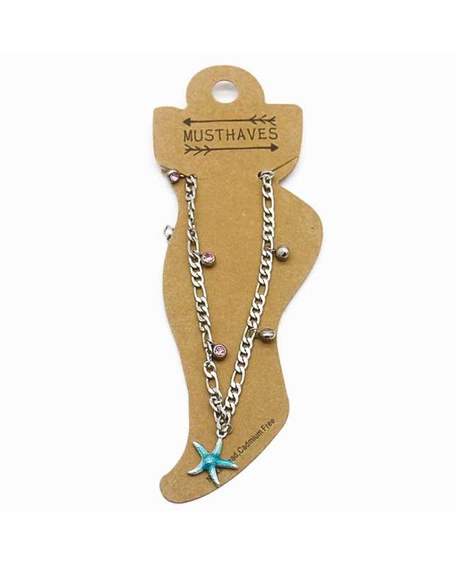 bracelet de cheville acier inoxydable étoile de mer