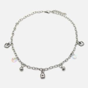 collier enfant acier inox coeur et cadenas