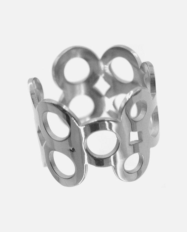 bague acier inoxydable argenté cercles