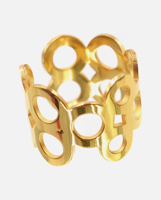 bague acier inoxydable doré cercles