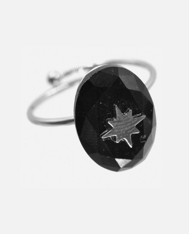 bague acier inoxydable argenté pierre noire étoile